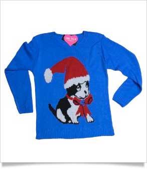 girl talk blue festive dog jumper