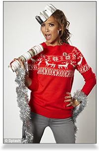 Myleene Klass wearing her novelty Xmas jumper in aid of Christmas Jumper Day