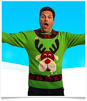Dom Jolly Wearing green reindeer jumper